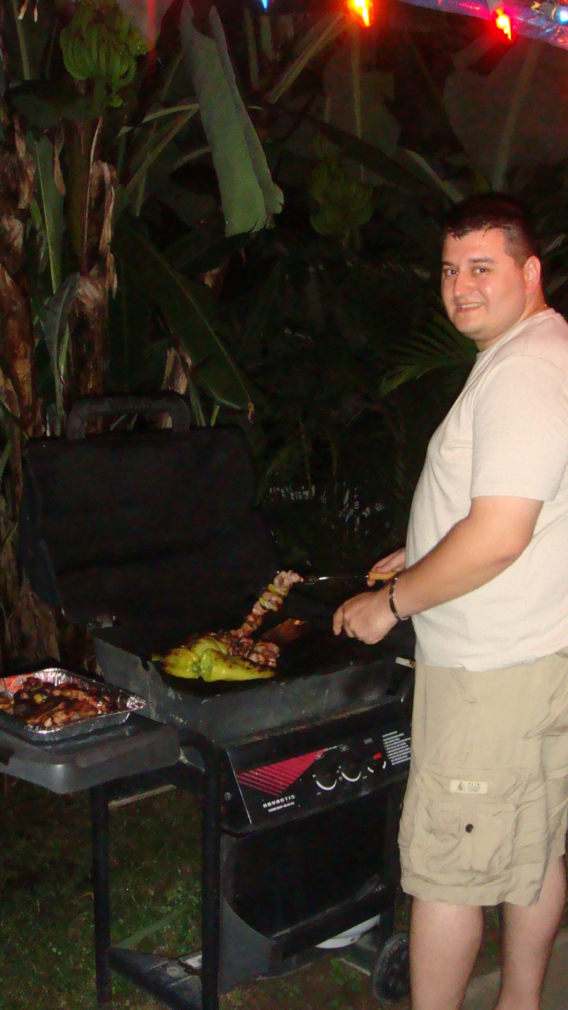 chris from texas always cooking on the BBQ rincon pr